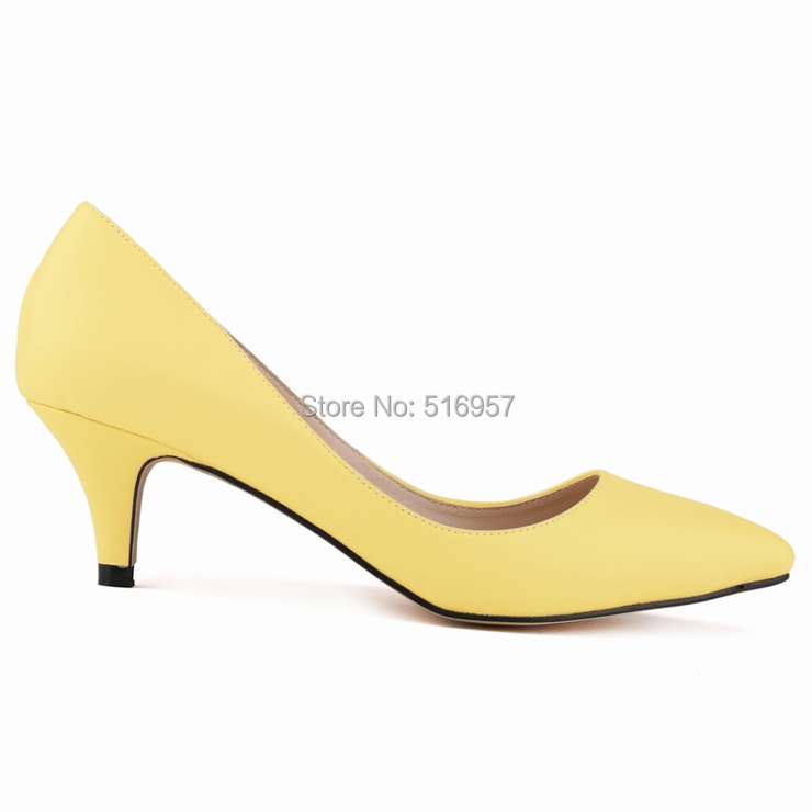 Yellow Low Heel Pumps - Qu Heel