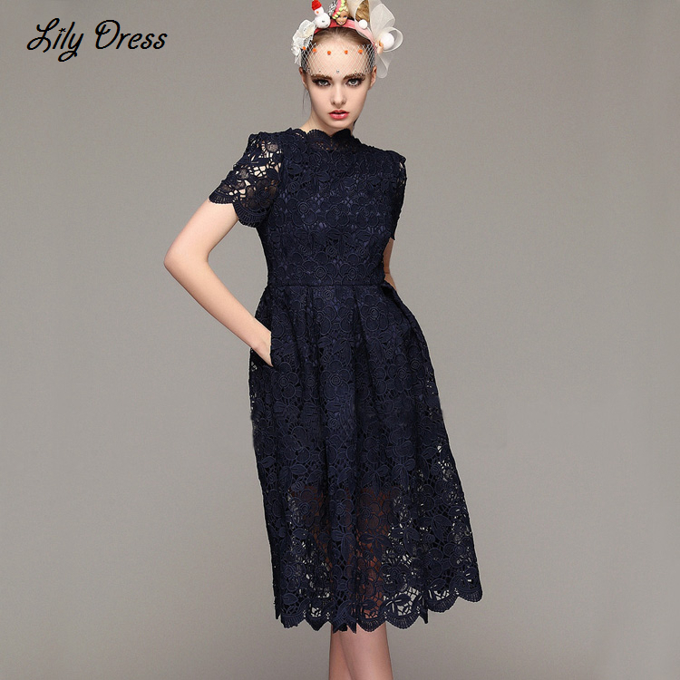 2015 Early Spring New Fashion Runway Brand Womens Elegant Short Sleeve Back V-neck Flowers Lace Pockets A-line Midi DressОдежда и ак�е��уары<br><br><br>Aliexpress