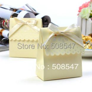 100pcs yellow  Ribbon   Wedding Favor box Marriage Party Boxes candy box   gift box wedding boxfree shipping