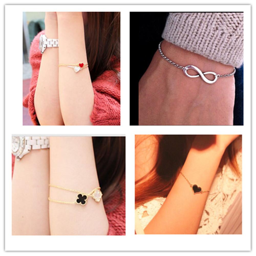 L077 Hot New 2015 Cheap Official Men Bijoux 8 Infinity Heart Bracelet For Women Jewelry Accessories Wholesale Bangles Bijoux(China (Mainland))