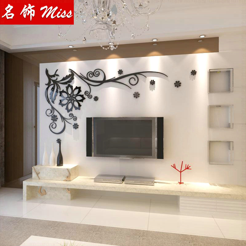 cristal tridimensionnelle stickers muraux mode tv mur mur de fond d coration autocollants papier. Black Bedroom Furniture Sets. Home Design Ideas