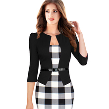 New 2015 Women Dress Summer Elegant Belted Tartan Lace Patchwork Tunic Wear to Work Business Casual Pencil Wiggle Sheath Dress