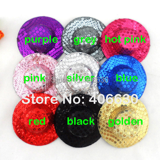 10cm Plain Sequin Mini Top Hat DIY Fascinators Hair Accessories 30pcs/lot Free Shipping MFF10-00S(China (Mainland))