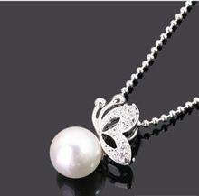 10 mix order Free Shipping new fashion Special Drill with Butterfly Pearl Necklace Cheap Fashion