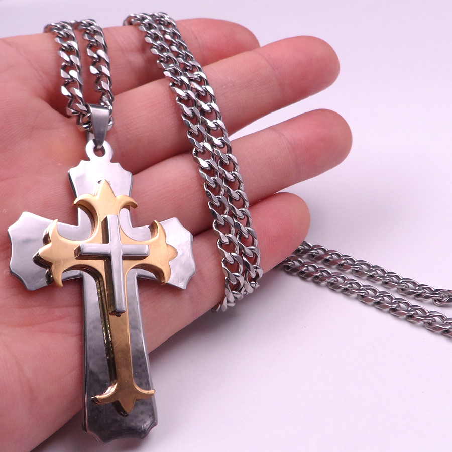20''-32'' MENS Fashion Stainless Steel 5mm Curb Chain Link Necklace Gold Silver Cross Pendant large crucifix(China (Mainland))