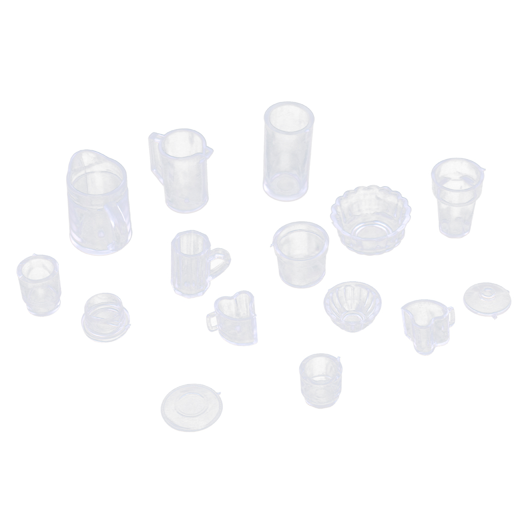 15Pcs Doll House Plastic Kitchen Tableware Cups for Barbi Dolls Accessories Pretend Play Toys Kitchen Toys Collection Decor