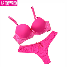 Bra Brief Sets Sexy Thong Plus Size Seamless Solid Bow Style Fashion Push Up Bra Set Women Lace Bow Underwear Set For Women(China (Mainland))