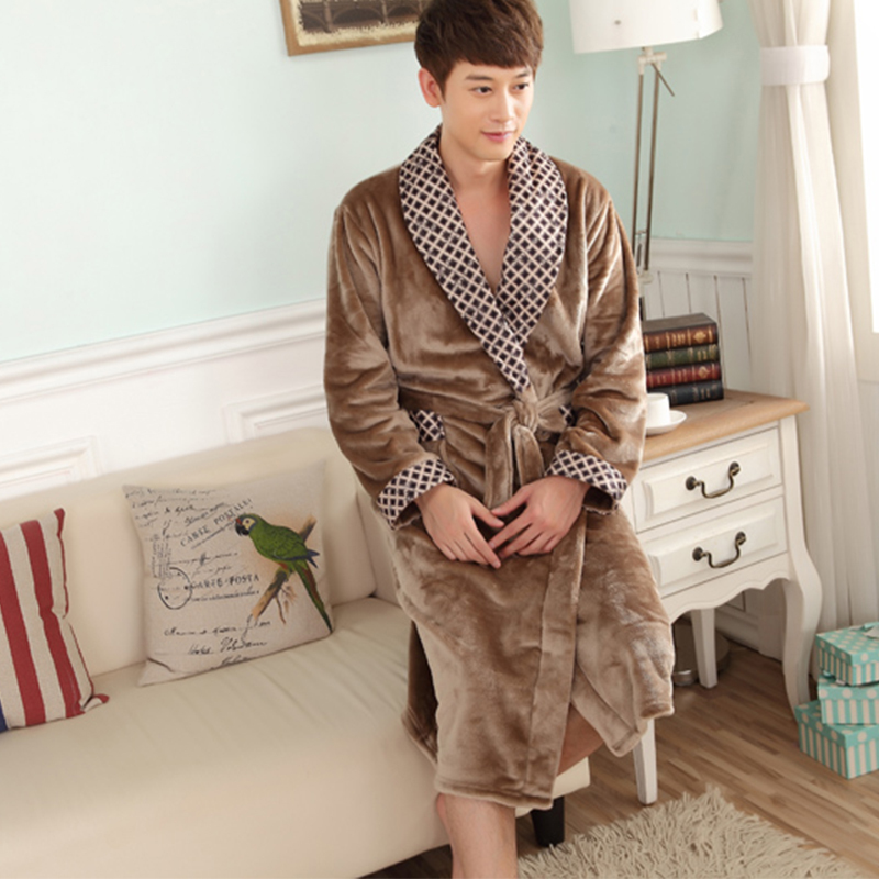 Autumn and winter coral fleece velvet bathrobe robe thickening flannel robe bathrobes men lounge sleepwear bathrobes