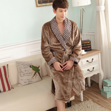 Autumn and winter coral fleece robe thickening flannel Men lovers lounge sleepwear bathrobes male solid color bathrobe