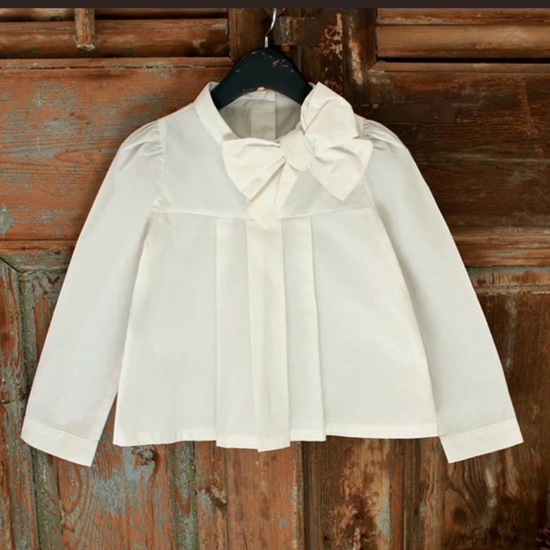 2016 New Spring Kids Girls Big Bow Shirts Princess White Color Western Cotton Tops Fashion Blouse 5pcs/lot Wholesale