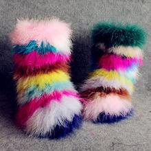 Multicolor botas de piel sintética calidad avestruz felpa botas aumento de la altura mujeres aclaramiento botas botas de nieve a media pierna patea los zapatos de señora(China (Mainland))