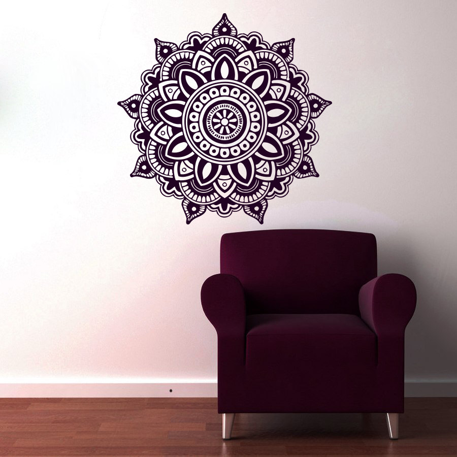 Mandala Indian Pattern Wall Sticker PVC Self Adhesive Home Decor Hot Sale Waterproof Flower Wall Decals