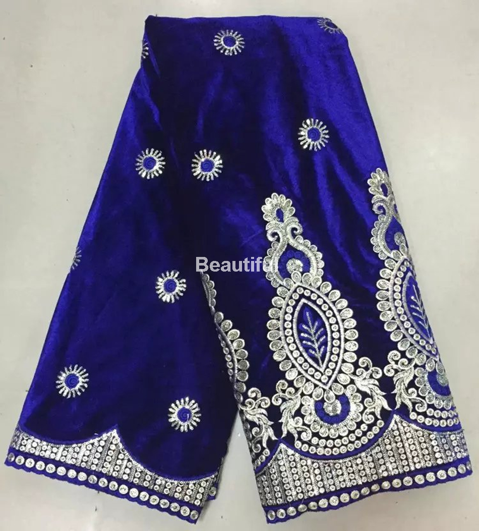 Royalblue applique satin embroidery african fleece cotton