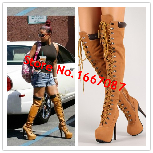 Original Quality Lace Up Gladiatos Thigh High Women Boots Tan Heels Platform Winter Boots Genuine Leather Shoes Women Botas <br><br>Aliexpress