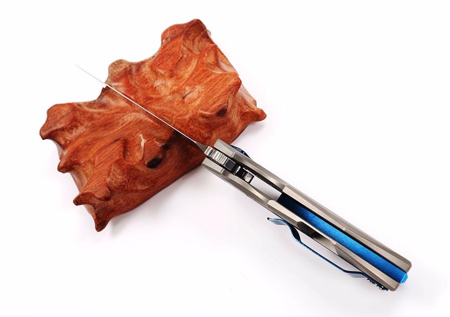 Buy WTT ZT0456 Ball Bearing Tactical Survival Knives D2 Steel Blade Flipper Folding Pocket Hunting Knife Titanium Handle EDC Tools cheap