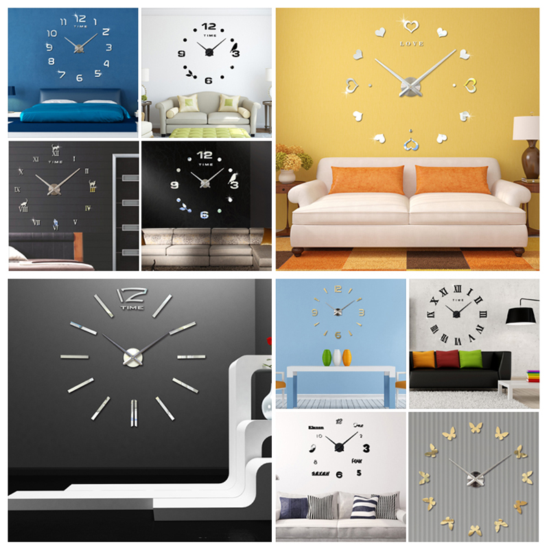 2016 Quartz Clocks Fashion Watches 3D Real Big Wall Clock Rushed Mirror Sticker DIY Living Room Decor - AIWALL's Store store