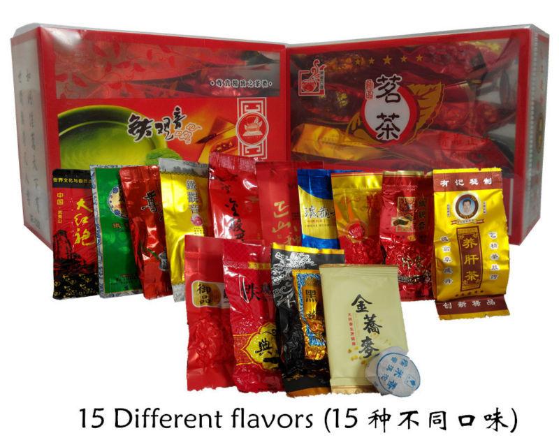 Promotion 15 Different flavors Tea Chinese Oolong\PuEr\Black\Green\Milk Oolong\Ginseng\flower\Buckwheat\Liver Tea+Secret Gift(China (Mainland))