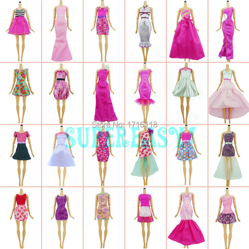 Reward Set 5x Random Combine Dinner Social gathering Robe Stunning Outfit Trend Gown For Barbie Doll Garments Lady Play Home Toys Equipment