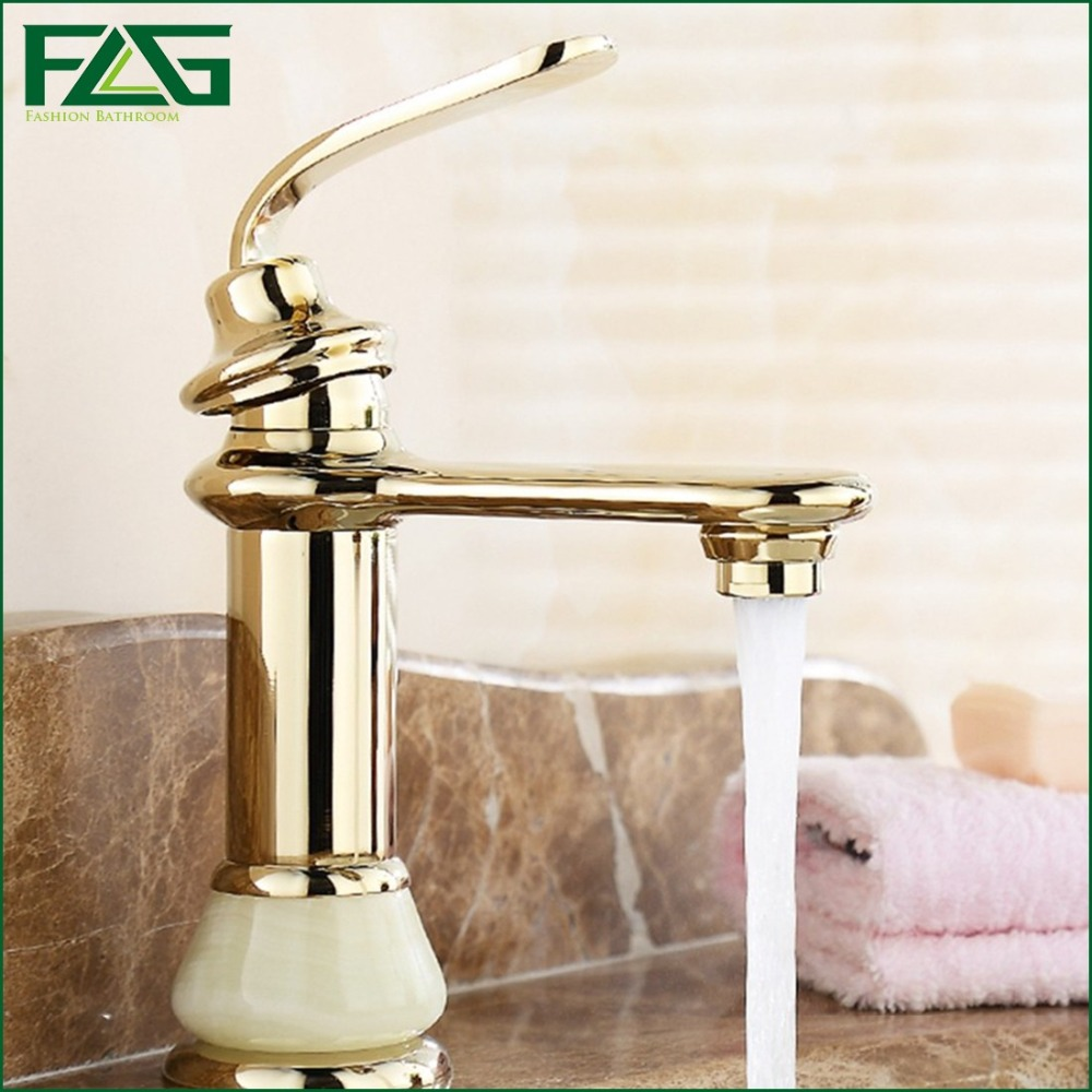 FLG European Aristocratic Basin Faucet Gold Bathroom Faucets Golden Plate With Jade Kraan Rack Cold&Hot Washbasin Water Tap M124(China (Mainland))