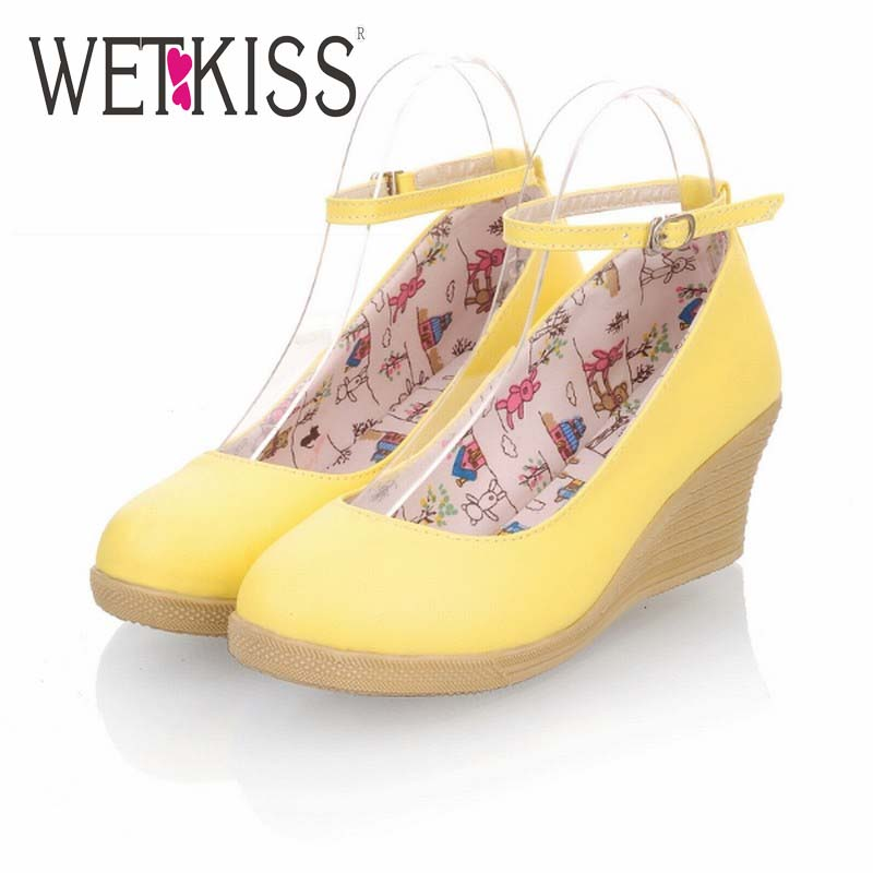 Fashion Women Ankle Strap Pumps Round Toe Women Shoes Wedges Med Heels Pumps Solid Shoes Woman 2016 Spring Sweet Pumps 5 Colors
