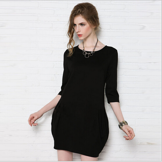 Profile shape was thin dresses women European style new models loose bud dresses female autumn half sleeved mini dress S1275(China (Mainland))