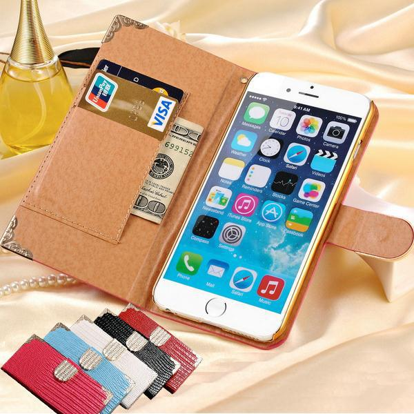 """Top Selling Wallet Shining Crystal Bling PU Leather Case For iPhone 6 Plus 5.5"""" Luxury Rhinestone Buckle Phone Bag Wholesale(China (Mainland))"""
