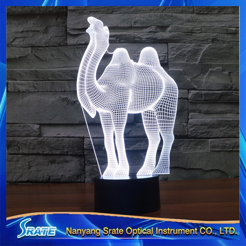 3D Vision Camel 7 Colorful Gradients LED Acrylic Plate Desk Lamp Bedroom Decoration Night Light(China (Mainland))