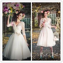 Short wedding dress v neck long sleeve 2014 tea length lace bridal short wedding dress v neck long sleeve 2014 tea length lace bridal gown junglespirit Gallery
