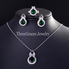 2015 Trendy 925 Sterling Silver Pendant Necklace Earrings And Ring Jewelry Sets With Green Emerald Cubic Zirconia Diamond JS117(China (Mainland))