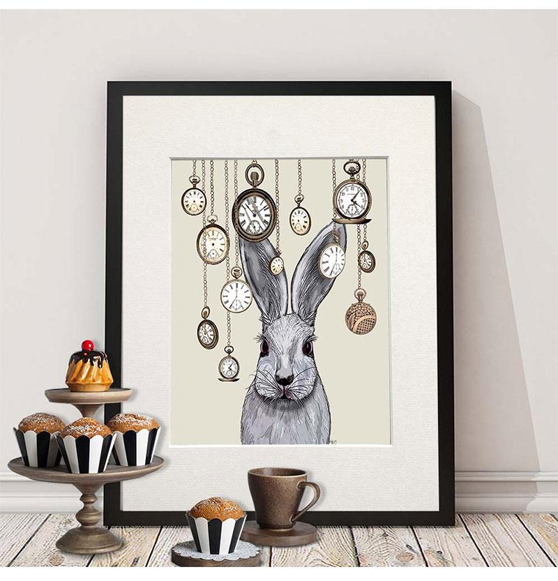 Großhandel Anvas Poster Cartoon Tier Deer Kaninchen Katze Vogel ...