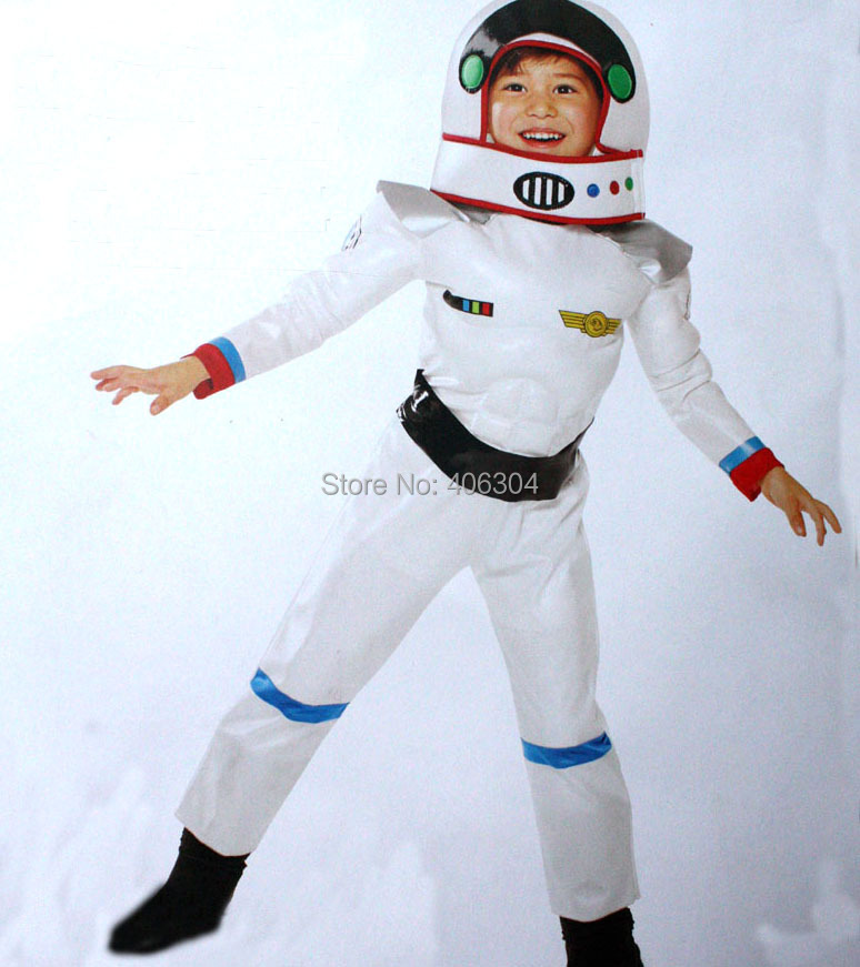 ,children white astronaut muscle costume spacesuit head mask,halloween Cosplay clothes kid - HH Party Costume Store store