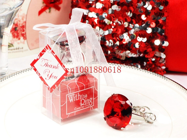 Fedex DHL Free Shipping Wholesale Ring Diamond Keychain White Key Chain Wedding Favors and gifts,100pcs/lot(China (Mainland))