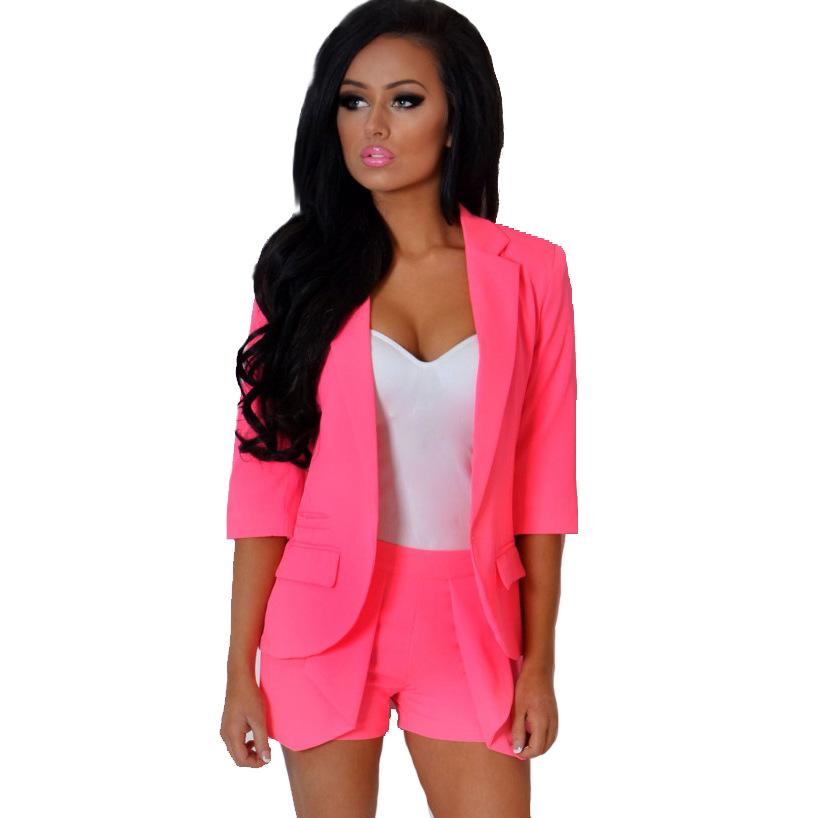 Women Solid Color Cardigan Suit Set Sweet OL Office Business Blazer and Shorts Set Women Casual 2 Piece Set Tracksuit MK344Одежда и ак�е��уары<br><br><br>Aliexpress