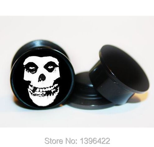 Free shipping fashion popular high quality skulls marked spiral earplugs body piercing jewelry 40pcs/lot(China (Mainland))