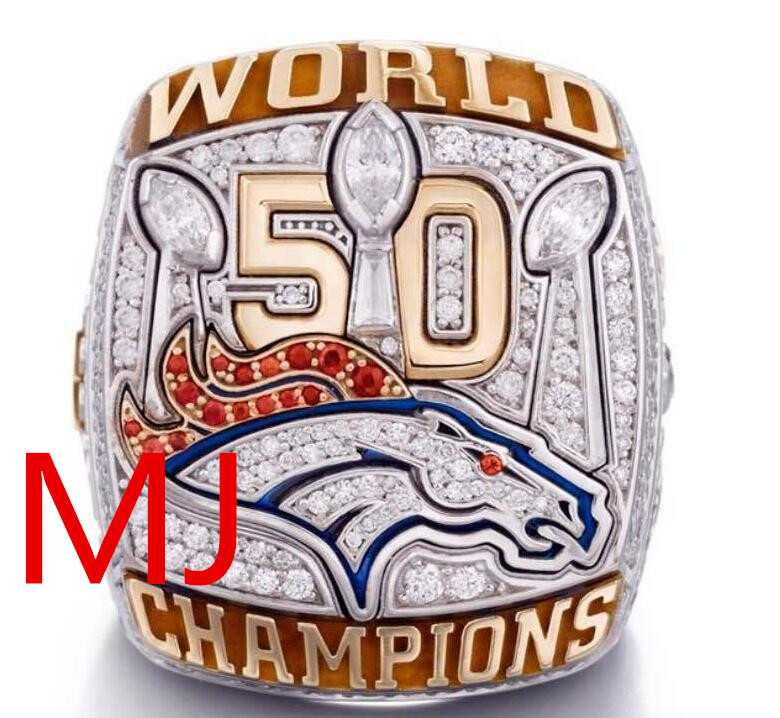 2016 New Arrival 2015 Denver Broncos NFL Super Bowl Championship Ring for man sport Best Fans Gift free shipping(China (Mainland))