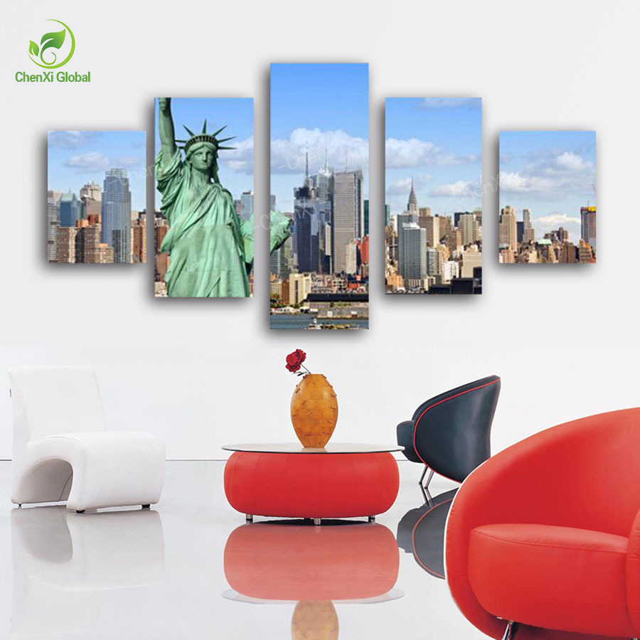 2015 Hot Without Frame Canvas Painting 5 Panels Picture New York City Picture Canvas Print Painting Artwork Wall Art Canvas(China (Mainland))