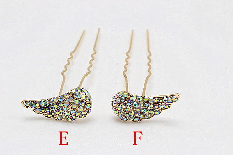 10pcs Rhinestone Popular Hairpin Brides Wings Hair Pins Clips Crystal Hair Combs Bridesmaid Jewelry Accessories 262-45(China (Mainland))