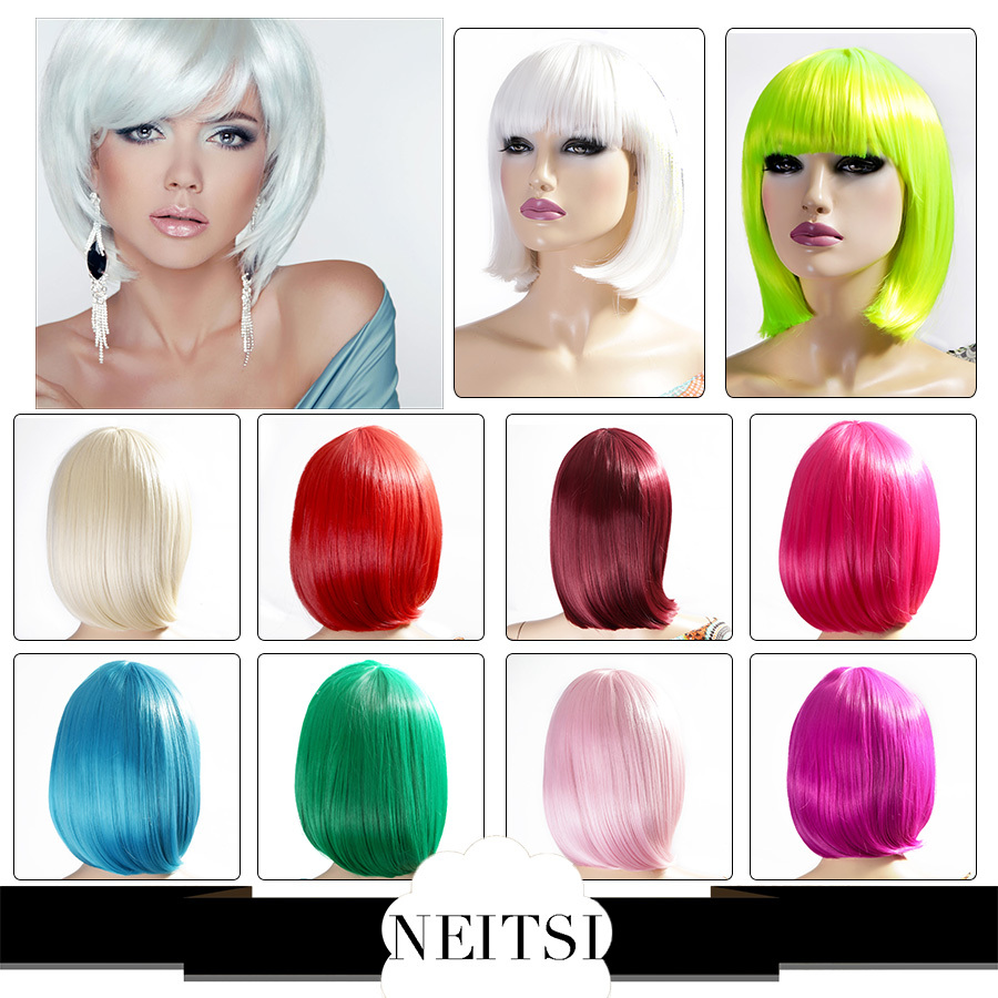 Neitsi Christmas Fashion Synthetic Hair Straight Short Wigs Cheap Colorful Full Lace Bob Wig Style 10 Colors For Cosplay/Party(China (Mainland))