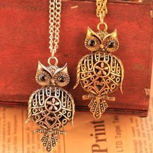 Vintage style Round Hollow metal flower Owl Chain necklace jewelry pendant necklace jewelry for women 2014