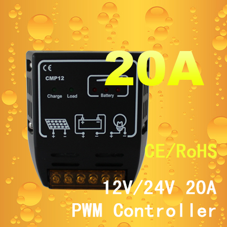 20A 12V/24V CMP12 Solar Charge Controller,PV Solar Panel Charger To Battery Free Shipping(China (Mainland))