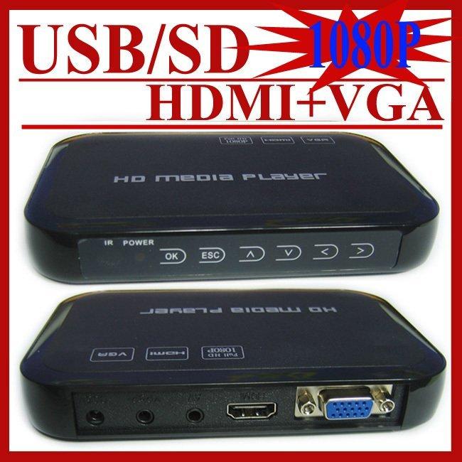 USB Full HD 1080P HDD Media Player HDMI VGA MKV H.264 SD - Sample(China (Mainland))