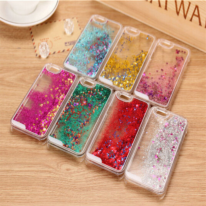 Transparent Clear Phone Case Back Cover Dynamic Liquid Glitter Stars Quicksand Hard Case For iPhone 4 5 6 plus Samsung galaxy
