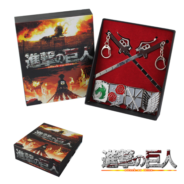 Shingeki no Kyojin/Attack on Titan 5pcs toys Set Sword+Badge pendants men women cosplay collections(China (Mainland))