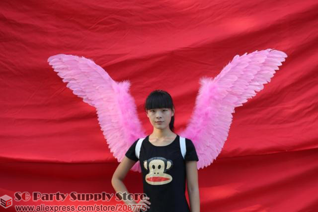 Students' Cute Pink Angel Feather Wings models performance catwalk COS Party Wedding props Pure Handmade EMS Free shipping(China (Mainland))