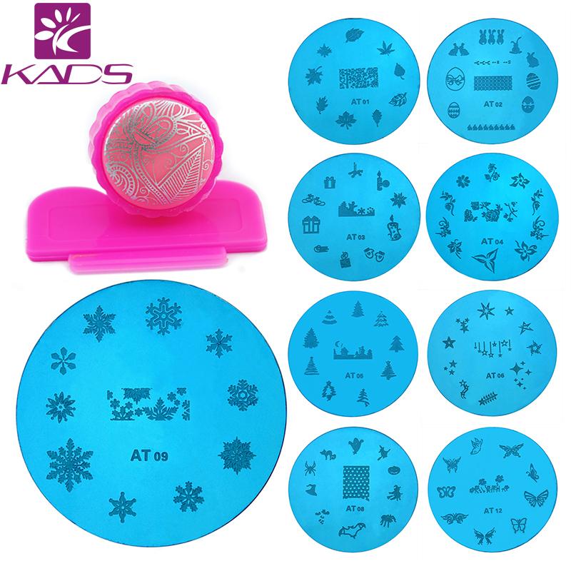 KADS 13pcs Round Stainless Steel Image Plate+2-way stamp+scrap DIY Nail Art Stamping Template Set for stamping nail art plate(China (Mainland))