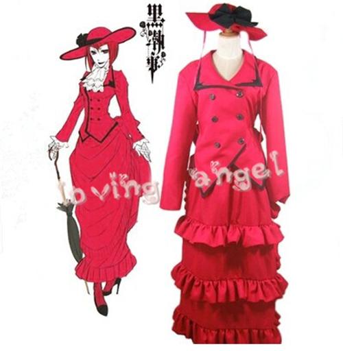 Black Butler Kuroshitsuji Madam Red Red Dress Cosplay Costume Free ShippingОдежда и ак�е��уары<br><br><br>Aliexpress