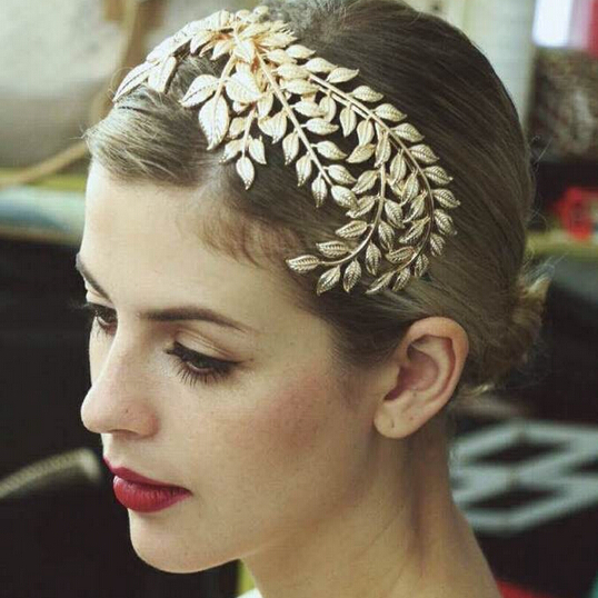 HG265 New Fashion Head Jewelry Headwear Olive Leaves Little Rhinestone Gold Headband Hair Accessory Women Hairband with comb(China (Mainland))