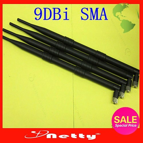 Free Fast Ship (40pcs/lot)  9DBI high-performance antenna SMA 9DBI antenna Gain WIFI Booster Wireless Lan omnidirectional SMA