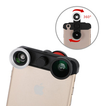 """4-in-1 360 Rotating Wide Angle + Macro + Fish Eye Camera Lens Kit for iPhone 6 4.7"""" Mobile Phone Lens(China (Mainland))"""