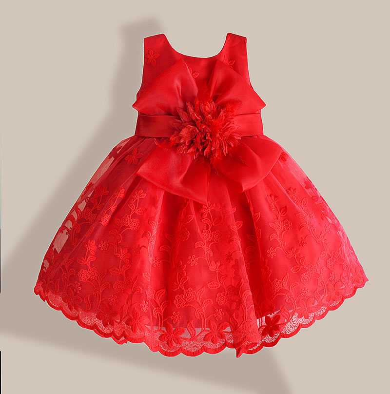 Christmas baby girl dress red lace flower embroidery kids dresses for